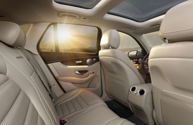 A photo of the rear seats in the 2018 Mercedes-Benz GLC in beige.