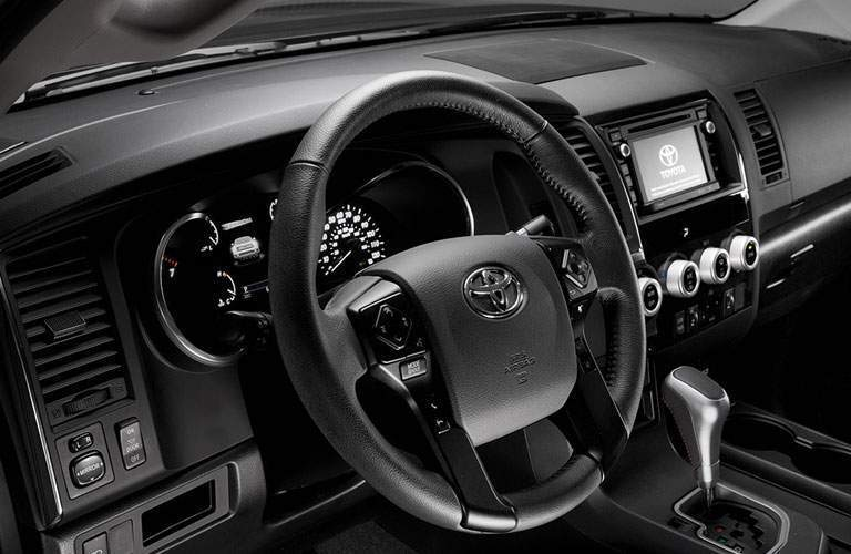 Steering wheel of the 2018 Toyota Sequoia in South Burlington, VT