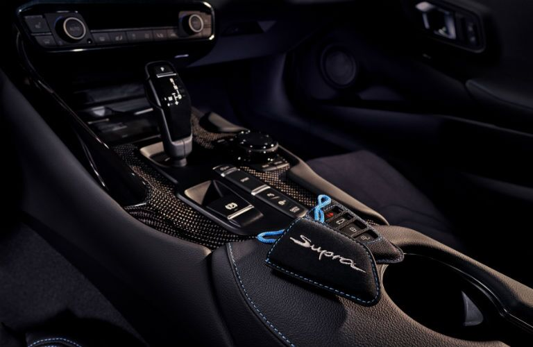 A photo of the lower center console in the 2021 Toyota Supra.