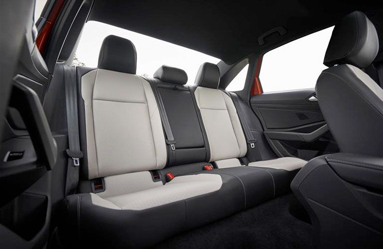 Interior view of the rear seating area inside a 2020 Volkswagen Jetta