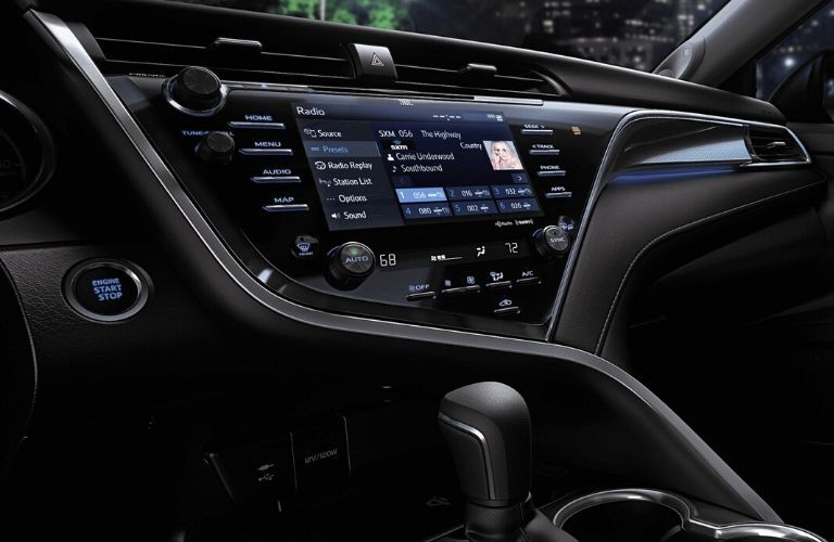 Interior view of the touchscreen display inside a 2020 Toyota Camry