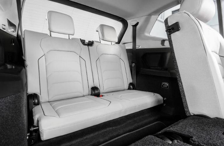 Interior view of the rear seating area inside a 2020 Volkswagen Tiguan