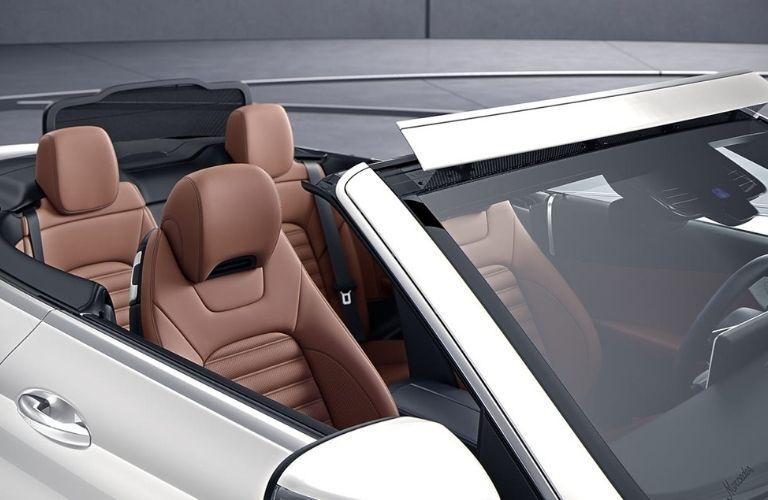 2021 MB C-Class Cabriolet interior passenger front seat and both rear seats partial windshield