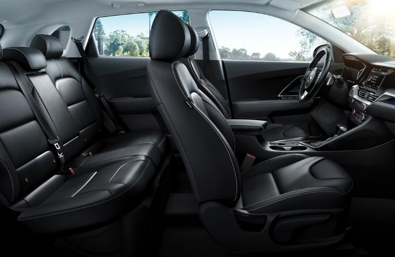 Interior view of the black seating available inside a 2020 Kia Niro