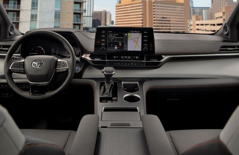 A photo of the dashboard in the 2021 Toyota Sienna.