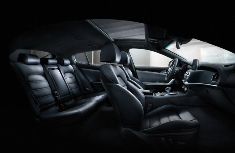 Interior first and second row of the 2021 Kia Stinger