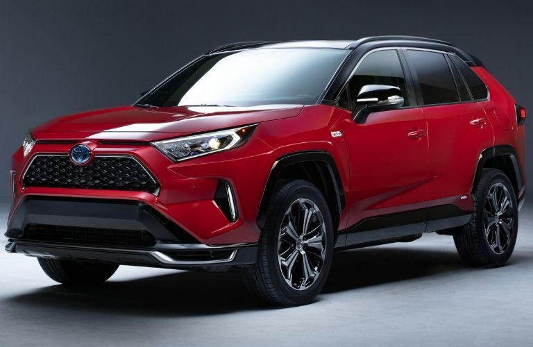 front view of red 2021 Toyota RAV4 Prime