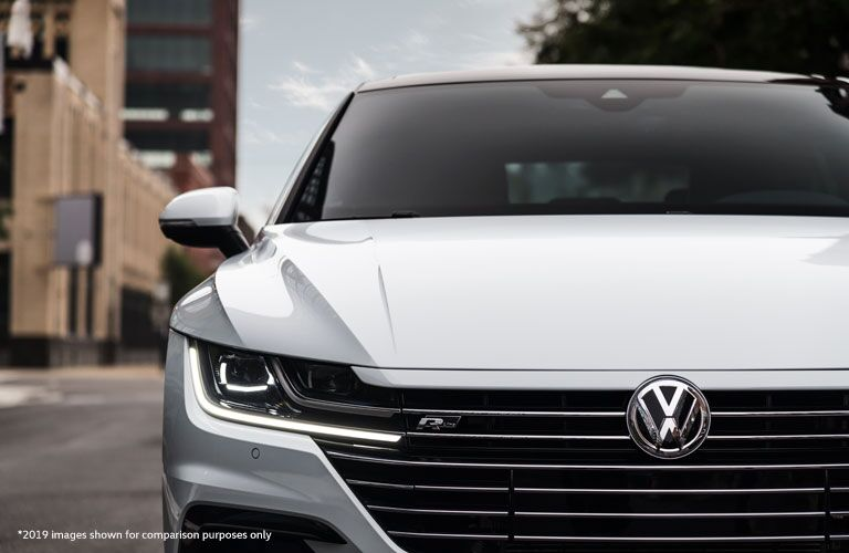 Front exterior of the 2020 Volkswagen Arteon in a white color