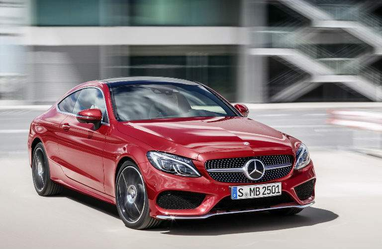 2018 Mercedes-Benz C-Class coupe driving downtown