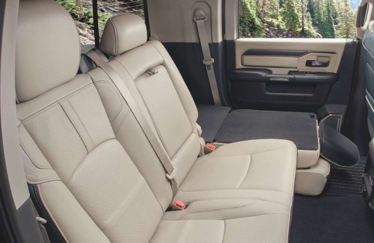 Interior view of the rear seating area available inside a 2020 RAM 2500