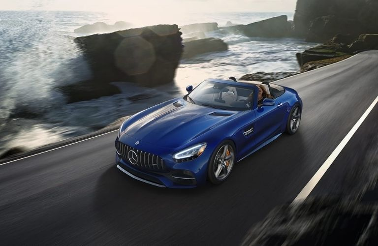 2021 MB GT Roadster exterior front fascia driver side on blurred highway