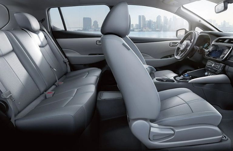 Interior view of the seating available inside a 2020 Nissan LEAF