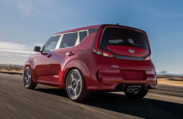 Exterior view of the rear of a red 2020 Kia Soul