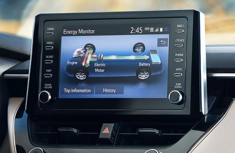 Interior view of the touchscreen display inside a 2020 Toyota Corolla
