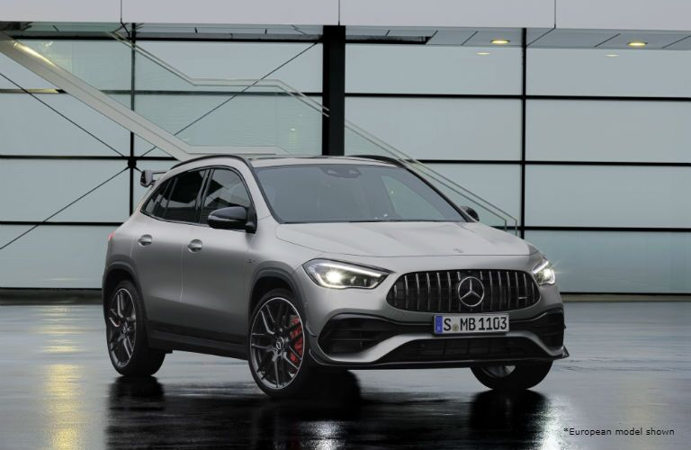 2021 Mercedes-AMG GLA 45 exterior front fascia passenger side in front of windows