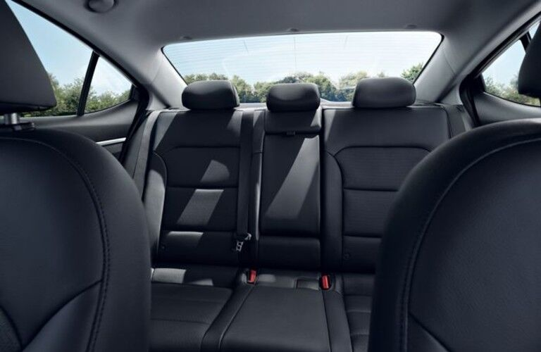 The interior view of the rear seat of a 2020 Hyundai Elantra.