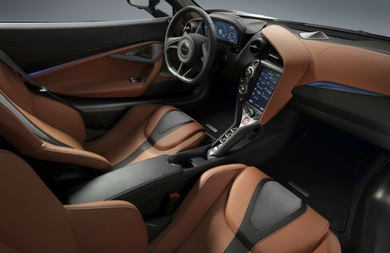 2020 McLaren 720S interior black and orange seats and trim dashboard