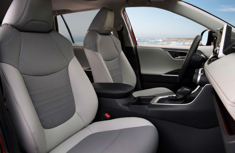 A photo of the front seats in the 2021 Toyota RAV4 Hybrid.