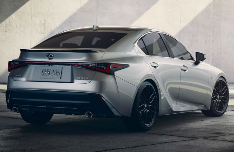 A rear right quarter photo of the 2021 Lexus IS.
