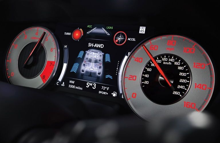 A photo of the gauge cluster in the 2021 Acura RDX.