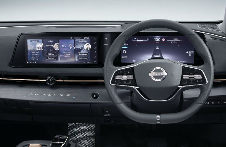 A photo of the driver's cockpit in the 2021 Nissan Ariya.