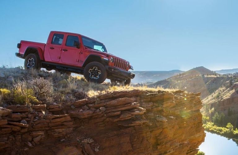 2020 Jeep Gladiator parked on a cliff