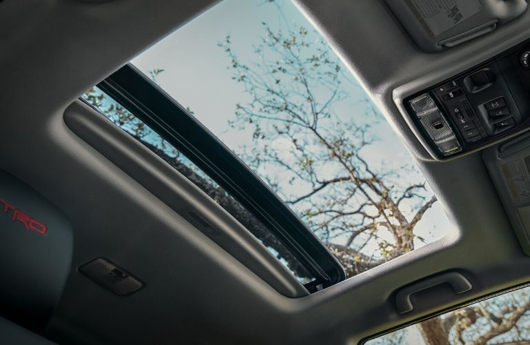 Interior view of the sunroof inside a 2020 Toyota 4Runner