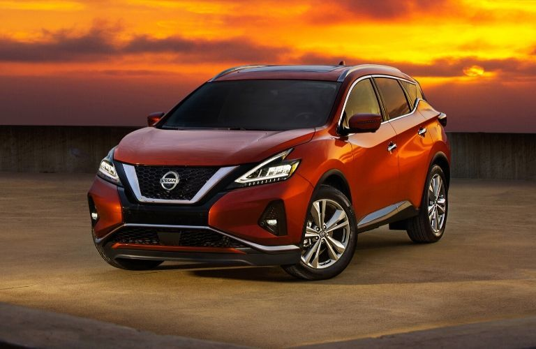 Exterior view of the front of a red 2020 Nissan Murano