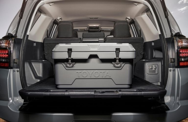 Interior cargo area of the 2021 Toyota 4Runner with a large box inside