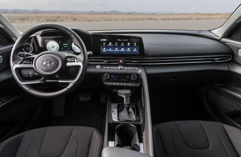 Interior driving area of the 2021 Hyundai Elantra