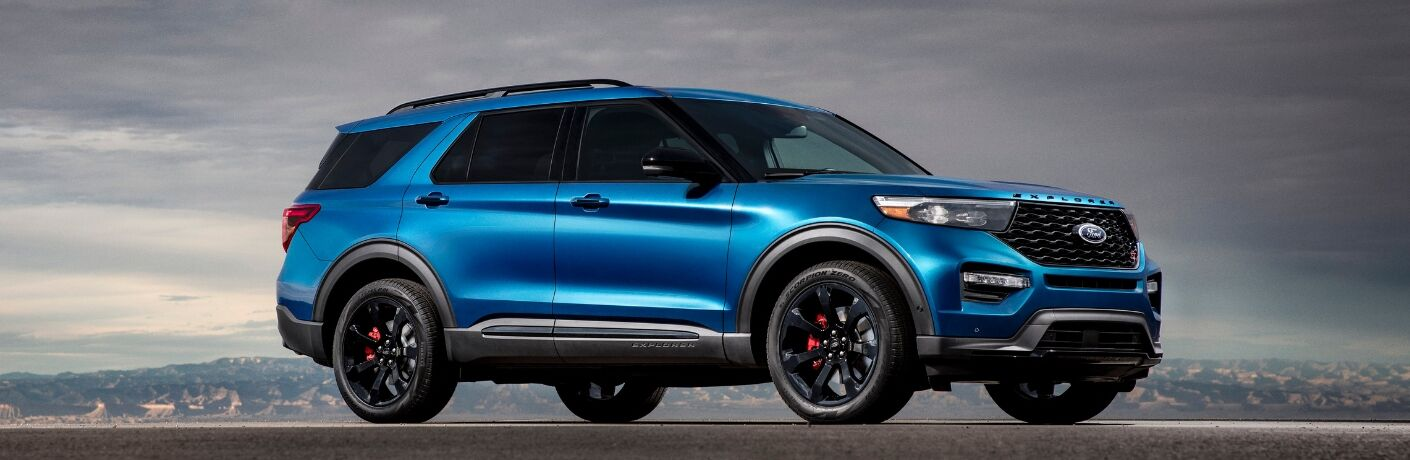 Side view of blue 2020 Ford Explorer