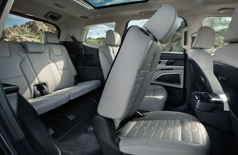 Interior view of the rear seating available inside a 2020 Kia Telluride