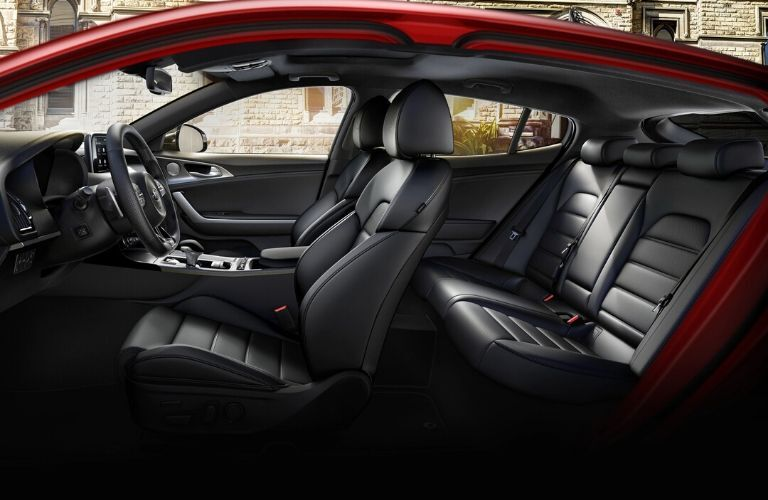 Interior view of the seating available inside a 2020 Kia Stinger