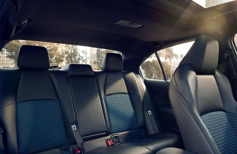 Interior view of the rear seating available inside a 2020 Toyota Corolla