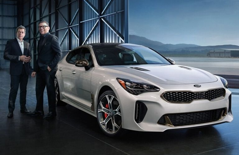 Exterior view of the front of a silver 2021 Kia Stinger