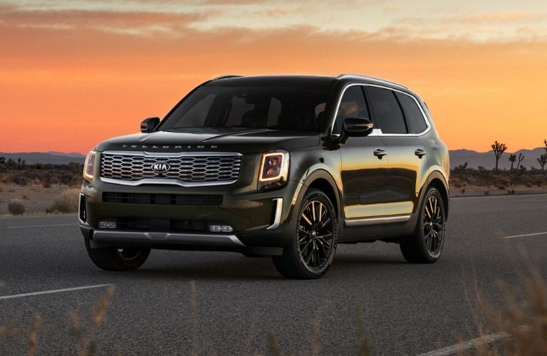 Exterior view of the front of a green 2020 Kia Telluride