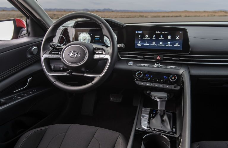 A photo of the driver's cockpit in the 2021 Hyundai Elantra.