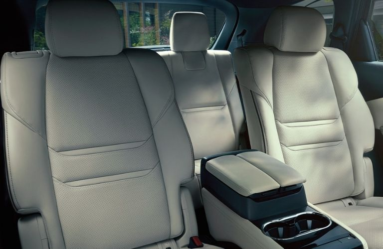 Interior view of the rear seating area inside a 2020 Mazda CX-9