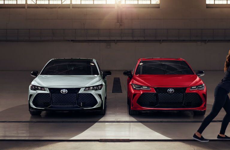 Two 2021 Toyota Avalon models from exterior front