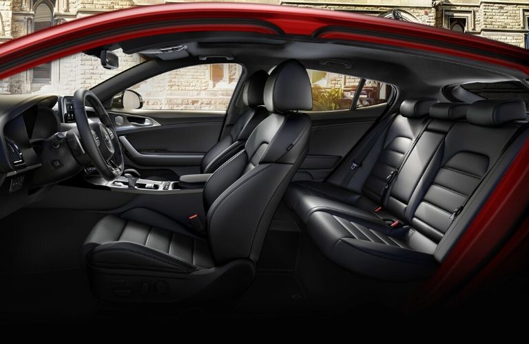 Interior view of the seating available inside a 2021 Kia Stinger