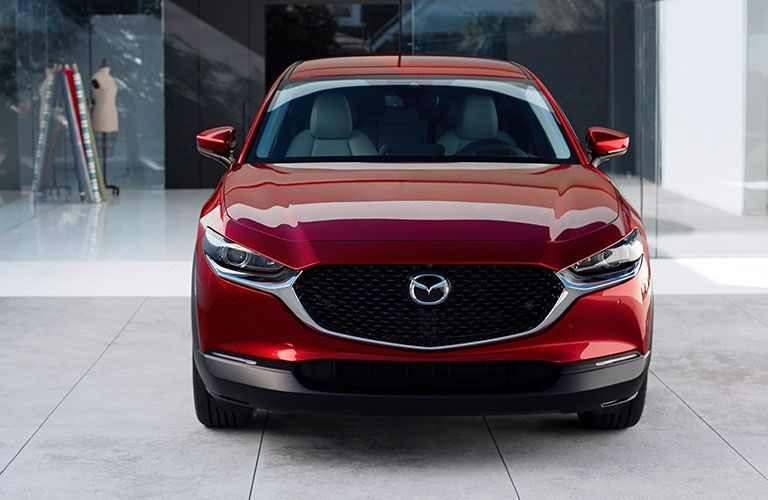 The front image of a red 2020 Mazda CX-30.