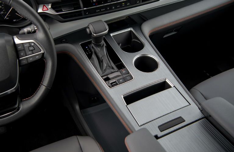 A photo of the lower console used by the 2021 Toyota Sienna.