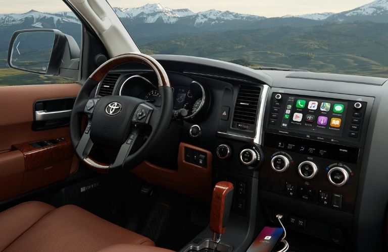 2020 Toyota Sequoia interior steering wheel and dashboard