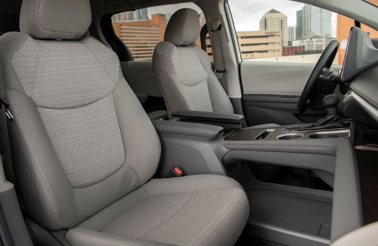 A photo of the front seats in the 2021 Toyota Sienna.