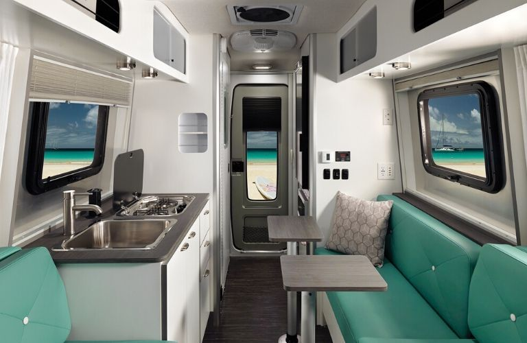 Interior view of the rear of a 2020 Airstream Nest