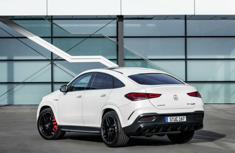 A rear left quarter photo of the 2021 Mercedes-AMG® GLE 63 S Coupe.