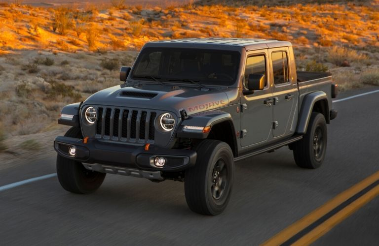 Exterior view of the front of a gray 2020 Jeep Gladiator
