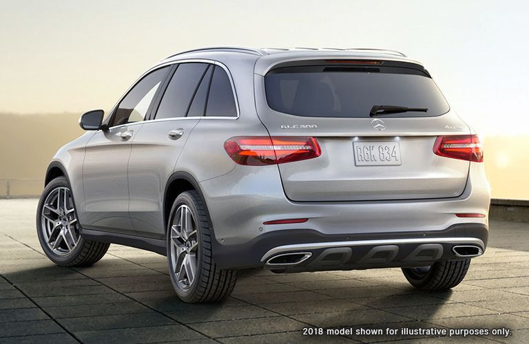 2019 MB GLC exterior back fascia driver side on tiled parking lot