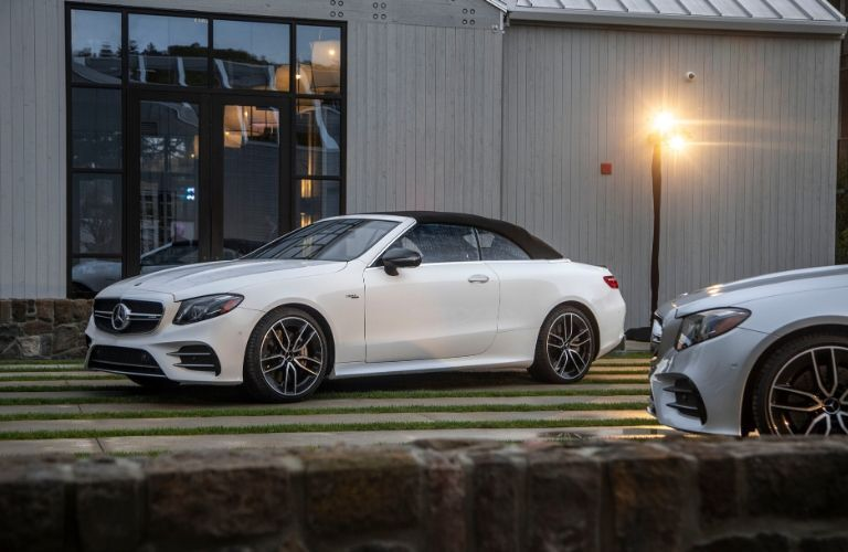 2020 MB E-Class Cabriolet exterior front fascia drier side parallel parked