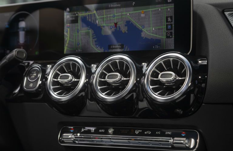 A photo of the touchscreen and environmental control system in the 2021 Mercedes-Benz GLA 250.